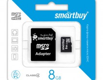 Карта памяти MicroSDHC SmartBuy 8GB cl4 + SD, SB8GBSDCL4-01
