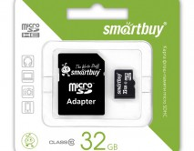 Карта памяти MicroSDHC SmartBuy 32GB cl10 + SD, SB32GBSDCL10-01LE