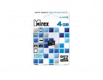 Карта памяти MicroSDHC MIREX 4GB cl4, 13612-MCROSD04