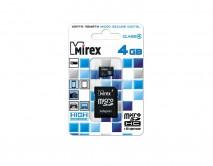 Карта памяти MicroSDHC MIREX 4GB cl4 + SD, 13613-ADTMSD04