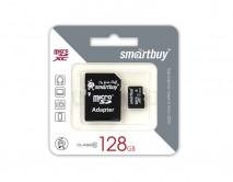Карта памяти MicroSDXC SmartBuy 128GB cl10 UHS-I + SD, SB128GBSDCL10-01